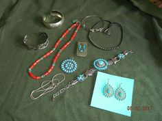Mix of Real & Costume Southwest Style Jewelry Turquoise Silver Coral Necklaces
