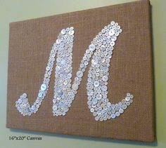Personalized Button Letter Monogram on Burlap Canvas -- Wedding, Baby Shower, Housewarming Gift -- Custom Design Your Own