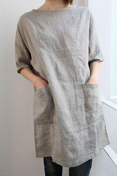 grey, linen tunic lino e lina Linen Tunic Dress, Linen Dresses, Linen Dress Pattern, Tunic Dresses, Tunic Pattern, Apron Dress, Linen Blouse, Sewing Clothes, Diy Clothes