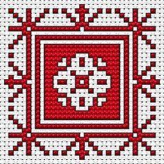 Biscornu Assisi Style, free cross stitch pattern from Garnstudio
