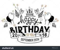 Happy Birthday To You. Hand Drawn Typography Headline For Greeting Cards In Vintage Style Isolated On White Background Ilustración vectorial en stock 379499470 : Shutterstock