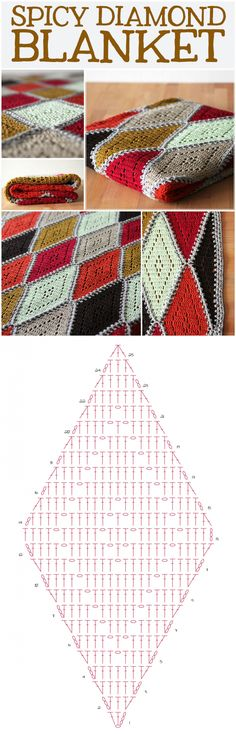 Free crochet pattern: spicy diamond blanket - haak maar Raak...♥ Deniz ♥