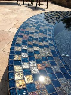 beautiful for the hot tub! Lightstreams Steel Blue Gold Iridescent Glass Pool Tile Spillway.jpg (480×640)
