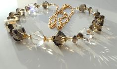 Clear rock crystal smoky quartz necklace jewelry gemstone natural crystal quartz luxury jewelry statement necklace bohemian style gift by JuliaMonistaArt on Etsy