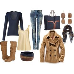 """brown and navy"" by lagu on Polyvore    please outfit, appear in my closet now."