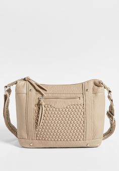 crossbody bag with woven front and guitar strap in sandstorm (original price, $36.00) available at #Maurices