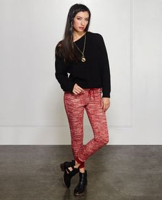 """<p>It's time to get cozy in these super soft joggers from Almost Famous! They feature a solid knit body with a space dyed pattern all over, contrast leg openings and elasticized waistband, and a drawstring closure.</p>  <p>Model is 5'9"""" and wears a size small.</p>  <ul> <li>28.5"""" Inseam</li> <li>8"""" Leg Opening</li> <li>70% Cotton / 30% Polyester</li> <li>Machine Wash</li> <li>Imported</li> </ul>"""