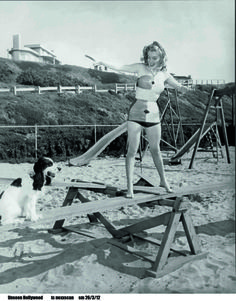 Marilyn in a fab suit with a dog