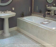 "Note the white and cream ""medallion""....Gray Blue and White Bathroom Design 