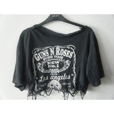 T-shirt: guns and roses shirt guns and roses band band punk rock rock... ❤ liked on Polyvore featuring tops, blouses, black crop top, rock shirts, hipster shirts, oversized blouse and black top
