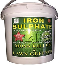 PREMIUM Iron Sulphate 1 KG (makes 500 Litres when diluted) Tub PURE LAWN TONIC- Sulphate of Iron Lawn Conditioner and Moss Killer. Dry Powder…