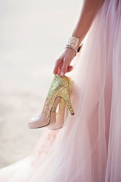 gold glittery wedding shoes ~  we ❤ this! moncheribridals.com