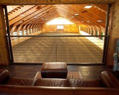 Riding Arena Design, Pictures, Remodel, Decor and Ideas. Awesome indoor arena with booth. Add a fireplace. Dream Stables, Dream Barn, Horse Stables, Horse Farms, Horse Arena, Horse Barn Plans, Indoor Arena, Horse Ranch, Farm Barn