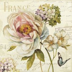 "Highlight your walls with a natural touch using this Art.com Marche de Fleurs (Walking Flowers) III. Its print featuring beautiful flowers and a butterfly adds an elegant look to your home décor. Painted on paper, this wall art was done by Lisa Audit. Measures 12""x12"". Includes mounting hardware."