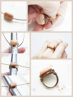 DIY Stone Ring Projects for Girls - DIY Schmuck selber machen - Jewelry Diy Jewelry Rings, Diy Jewelry To Sell, Beaded Rings, Wire Jewelry, Jewelry Crafts, Handmade Jewelry, Jewelry Making, Diy Crystal Rings, Diy Boho Rings