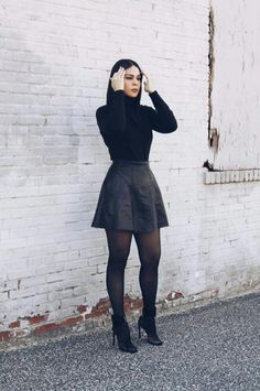 Stockings outfit - 50 Stylish Stockings Outfits For Your Fall Outfit Inspiration Mode Outfits, Fall Outfits, Fashion Outfits, Fashion Heels, White Outfits, Womens Fashion, Jeans Fashion, Fashion Trends, Dress Fashion