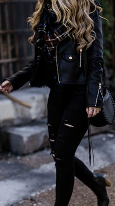 All black winter outfit styled with black leather jacket, black distressed jeans. - All black winter outfit styled with black leather jacket, black distressed jeans… – - Cute Fall Outfits, Winter Outfits Women, Stylish Outfits, Cute All Black Outfits, Black Jeans Outfit Winter, Black Leather Jacket Outfit, Black Shorts, Leather Pants, Summer Outfits