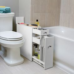 This extra cabinet that fits awkwardly into that awkward space between your toilet and the tub. | 23 Unexpected Things You Didn't Know Your Bathroom Needed