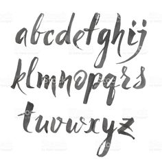 Hand Drawn Alphabet Written With Brush Pen Letters Are Decorated