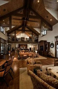 Open floor plan and beams on the ceiling