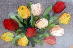 Framed tulips Art - Birthday gift framed - Wall decor floral framed - Hanging framed gift - Framed gift mom - Ribbon Embroidery framed