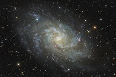 The third largest galaxy in the Local Group is Messier 33, the Triangulum Galaxy which is barely visible to the naked eye, even in the darkest skies. It is also the farthest permanent object that can be seen without a telescope.