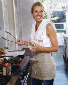 GP cafe short apron gwyneth paltrow cooking, kitchen, laughing beautiful photo