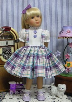 """This """"Purple Plaid Suspender Doll Dress"""" is made to fit the 18"""" Kidz 'n' Cats Doll. Camille, my 18"""" Kidz 'n' Cats doll, is in her music room practicing her violin. Her cat, Puff, is enjoying (or maybe wanting to """"make the screeching string music STOP!). 