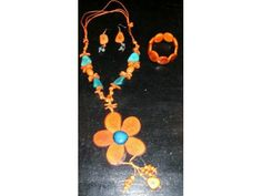 Mango Tango - Handmade, one of a kind Tagua Nut Jewelry (Palm Ivory) Necklace, Bracelet, Earring Set of 3 - Scentsations