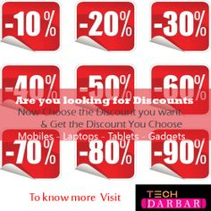 Now Choose the Discount you Want and win the Discount you Choose To know more visit #techdarbar