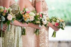 Blush and Gold Sequin Wedding Dresses | Cory Ryan Photography | See More! http://heyweddinglady.com/the-ultimate-guide-to-sparkling-metallic-dresses-for-your-wedding/