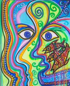 """""""Aura Eyes""""  Abstract Acrylic on Canvas (30"""" x 24"""") **"""