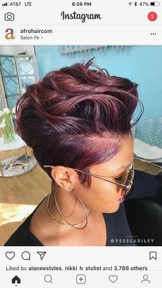 95 Purple Hair Color Highlights Lowlights For Dark Burgundy Plum Violets Colors hair color shades, Short Pixie, Short Hair Cuts, Red Pixie Cuts, Short Cut Wigs, My Hairstyle, Girl Hairstyles, Curly Mohawk Hairstyles, Black Women Hairstyles, Curly Hair Styles