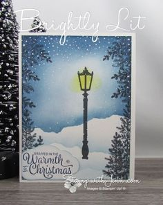 See the supplies used on this beautiful Stampin' Up! Christmas card using the Brightly Lit stamp set. The card is a pretty winter scene, that makes me think of a park in the lamplight after a fresh snowfall. Stampin Up Christmas, Christmas Cards To Make, Christmas Greeting Cards, Holiday Cards, Christmas Tag, Christmas Decor, Christmas Lamp Post, Winter Cards, Handmade Birthday Cards