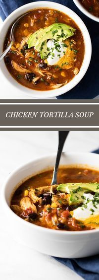 Warm and cozy chicken tortilla soup with corn and black beans |#soup #chicken girlgonegourmet.com via @april7116