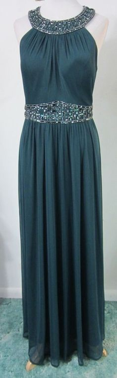 Green 14 FORMAL GOWN Beaded Stretch PROM Dress Evening one by eight EUC #onebyeight #Formal