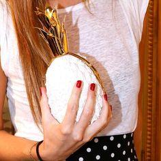 Osklen white pineapple clutch bag