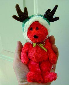 Beanie Babies Jingle Bell Ty Red Bear Reindeer by VintageVigo