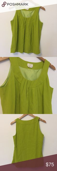 Kate Spade | Chartreuse Blouse Gorgeous Kate Spade Blouse! Chartreuse color, front cascade pleated detailing. Fully lined. Worn once, no flaws. Viscose fabric. kate spade Tops Tank Tops