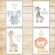 Safari Nursery Decor, Nursery Wall Art, Baby Animal Prints, Animal Watercolor, Wall Decor Kids Room Elephant Giraffe Zebra Lion Set of 4 by TheWisdomStudio on Etsy https://www.etsy.com/listing/462614148/safari-nursery-decor-nursery-wall-art