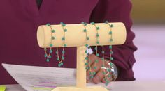 "14K Gold 11"" Turquoise Bead Dangle Ankle Bracelet - J289632 — QVC.com"
