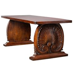 Rare Carved Chestnut Altar Table From The French Alps monastery, handcarved shell pedestals.