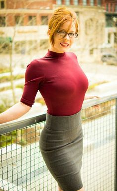 redhead glasses sexy librarian pencil skirt curves