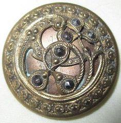Victorian Buttons | Antique Victorian Metal Button Lge Ornate Openwork Brass w Cut Steels