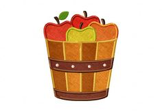 Apple Bucket Includes Both Applique and Stitched