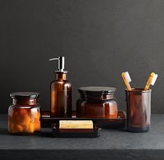 Shop for Pharmacy Accessories Amber Glass by Restoration Hardware at ShopStyle. Apothecary Jars Bathroom, Apothecary Bottles, Glass Bathroom, Brown Bathroom, Bathroom Spa, Bathroom Lighting, Amber Bottles, Ambre, Bathroom Accessories Sets