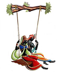 Radha Krishna on a Swing - Wall Hanging (Wrought Iron))
