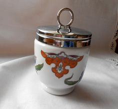 Royal Worcester Porcelain Egg Coddler Palmyra King Size Stylized Flowers Made In England