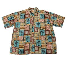 Vintage 90s Palm Tree Print Cotton Hawaiian Shirt Mens Size XXL $30.00