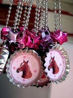 How to make a bottlecap necklace. Could be adapted to fit any theme.